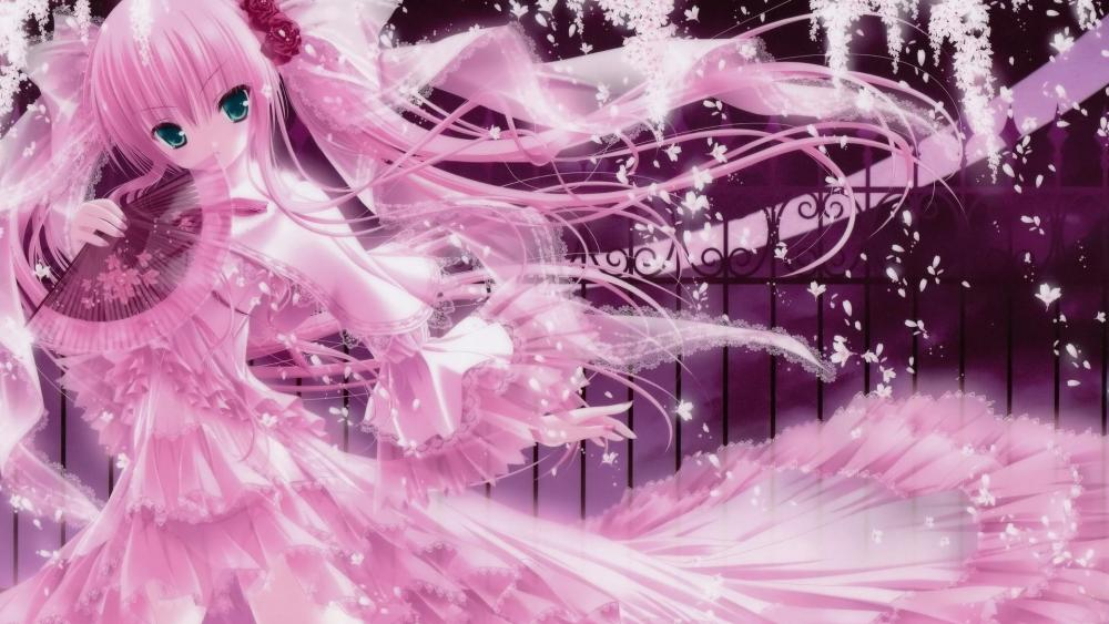 Cute pink anime girl wallpaper