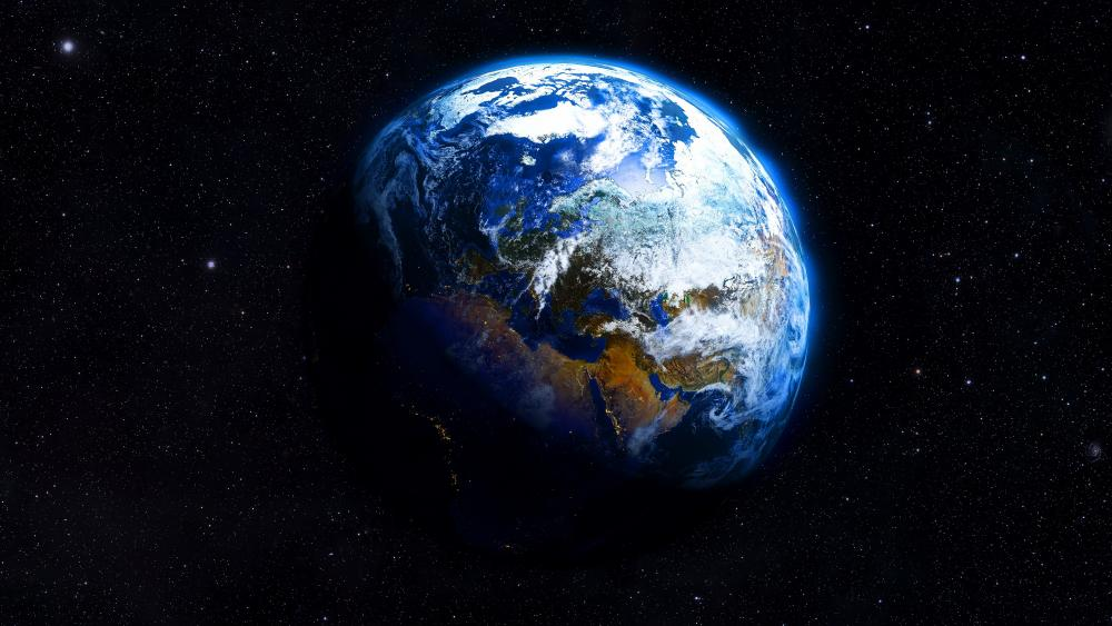 The blue Earth from the space wallpaper