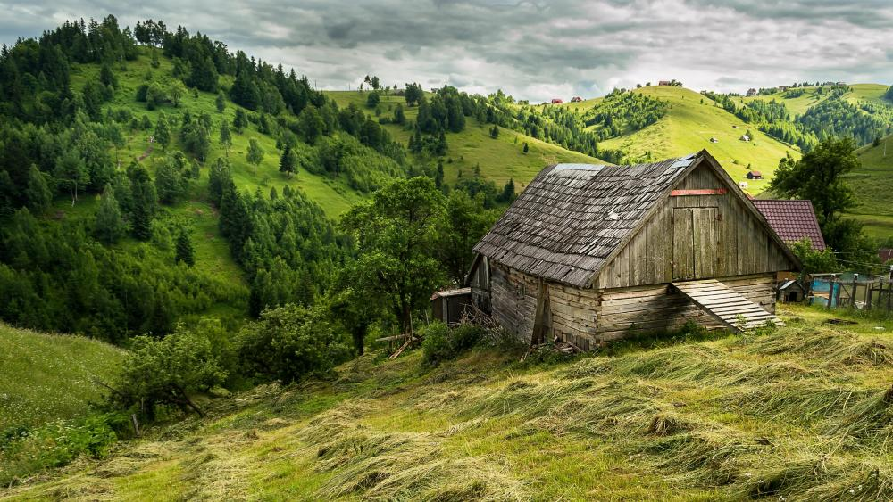 Mountain village in Transylvania wallpaper