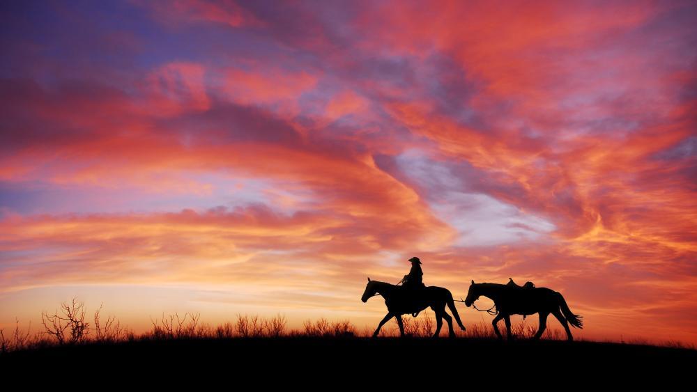 Cowboy at sunset wallpaper