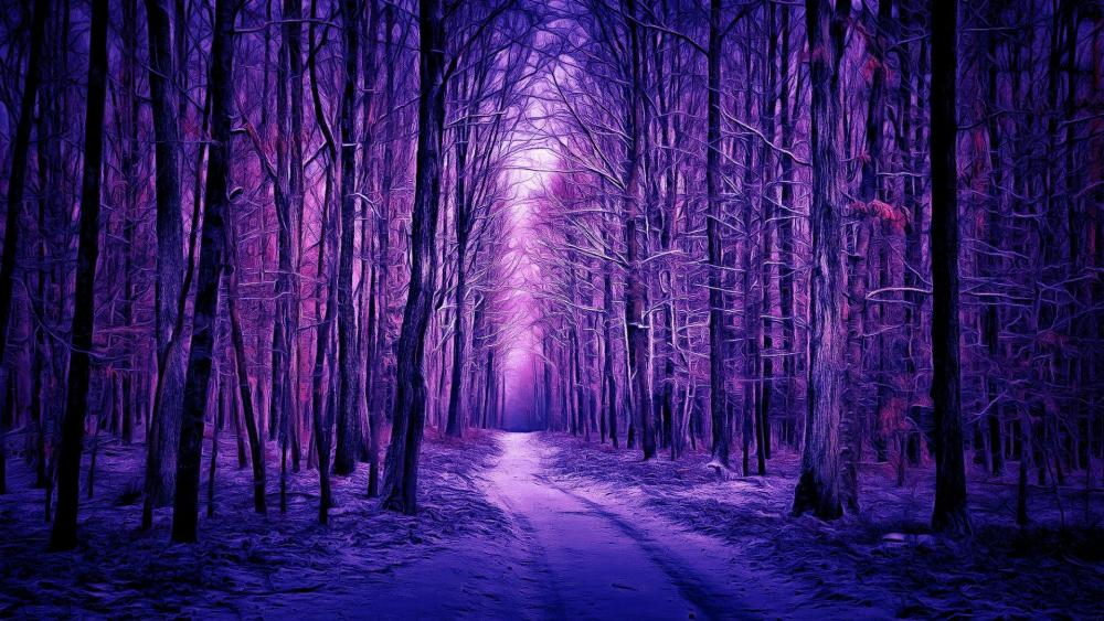 Purple winter forest - Digital painting wallpaper