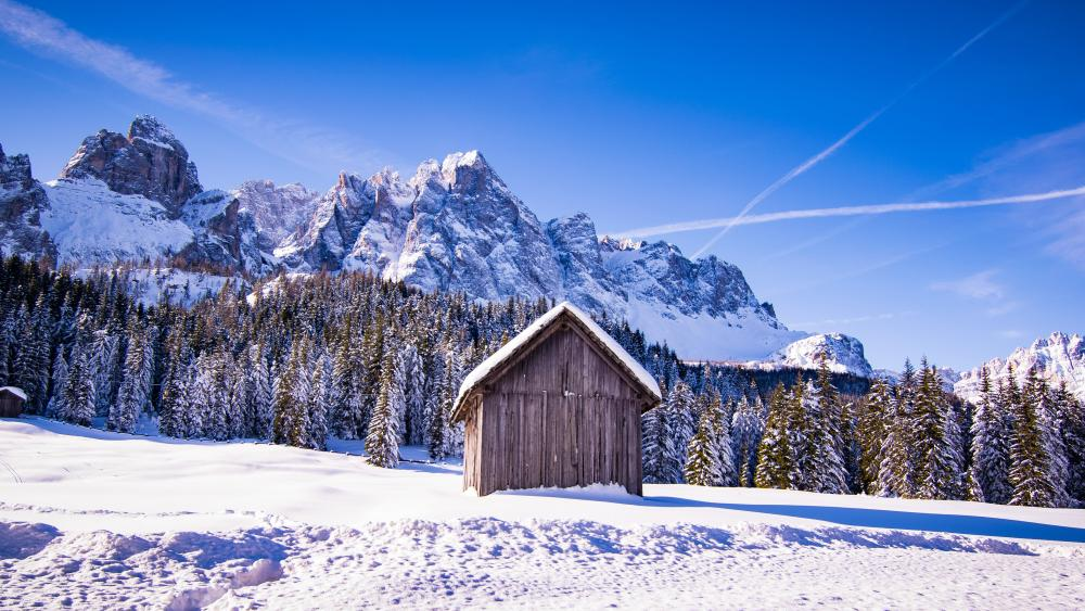 Hut in the Dolomites at winter time wallpaper