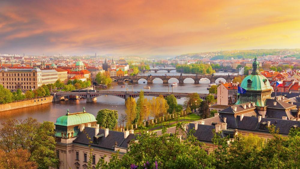 Prague skyline wallpaper