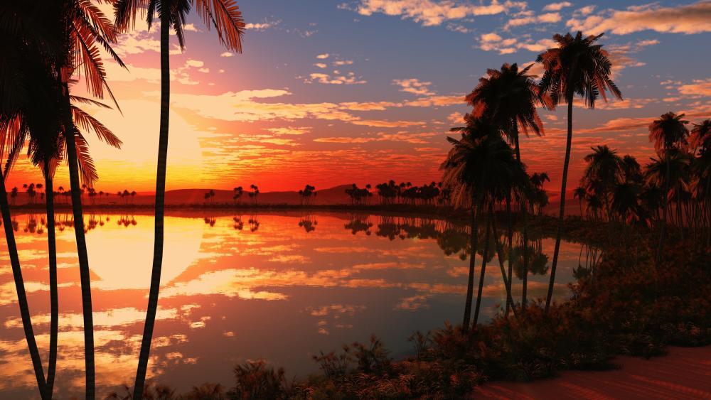 Tropical sunset reflection wallpaper