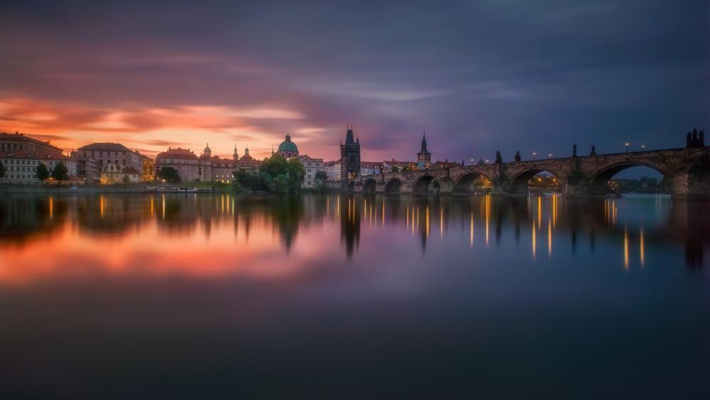 Vltava river and Charles Bridge at dusk wallpaper