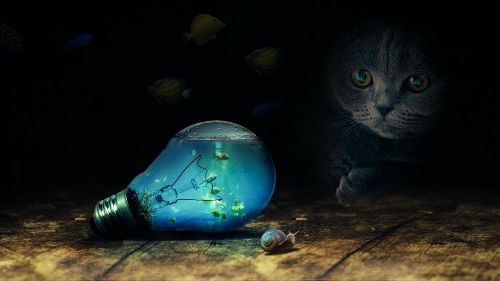Light bulb aquarium - Fantasy art wallpaper