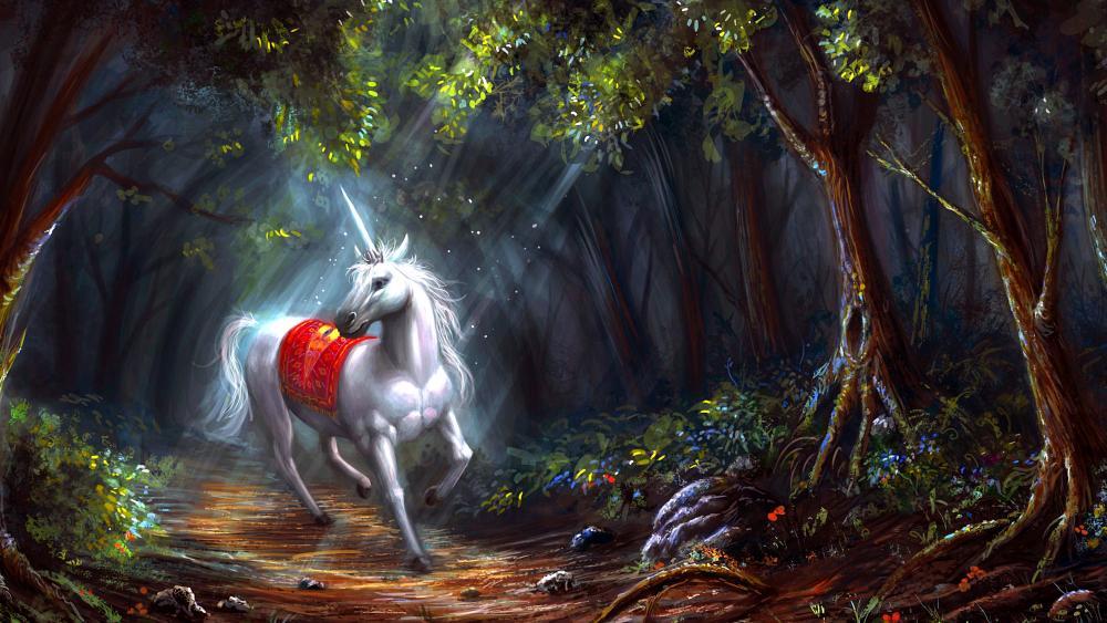 Unicorn in forest wallpaper