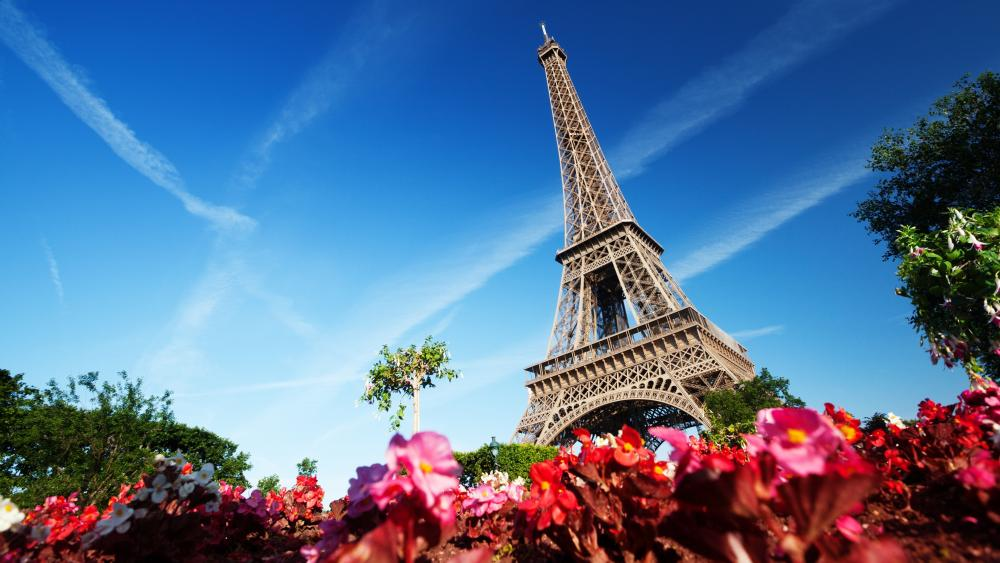 Eiffel Tower with contrails in the blue sky wallpaper
