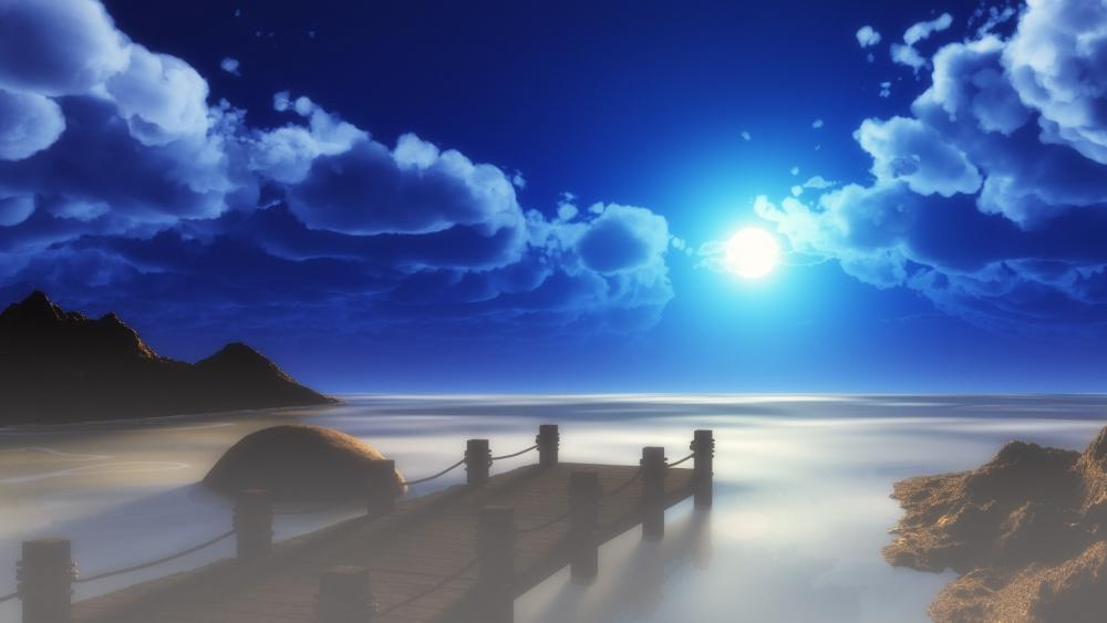 Pier in the moonlight - Fantasy art wallpaper