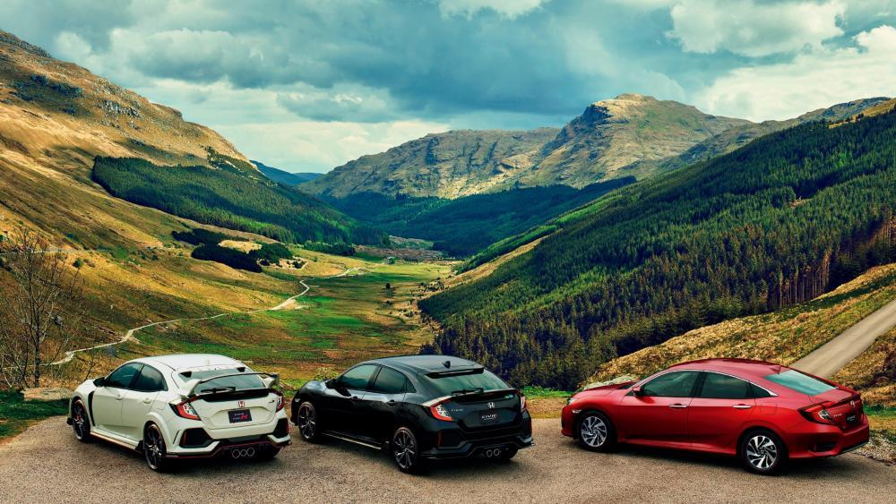 Three Honda cars at Rest and Be Thankful Viewpoint wallpaper