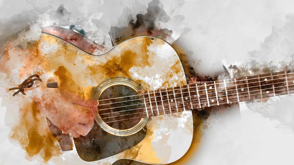 Playing Guitar Painting wallpaper