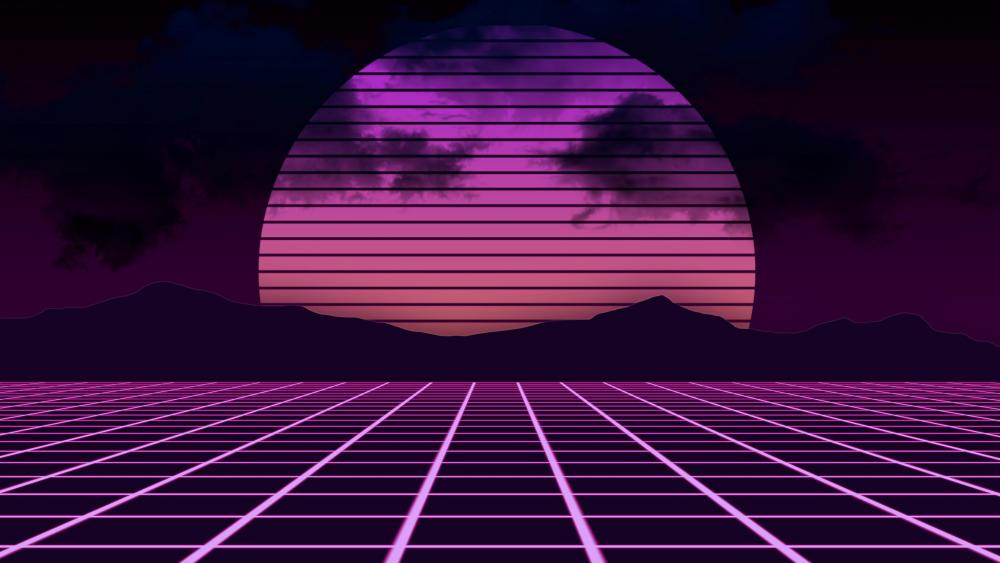 Retrowave abstract neon landscape wallpaper