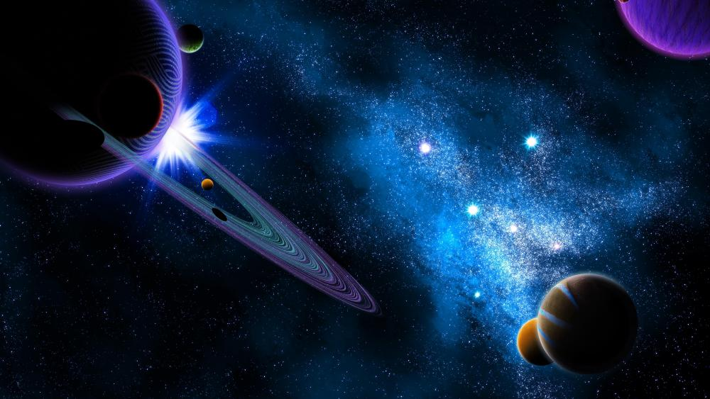 Colorful space art wallpaper