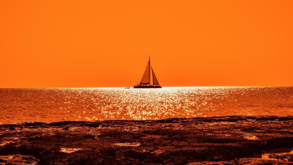 Sailing in the sunset wallpaper