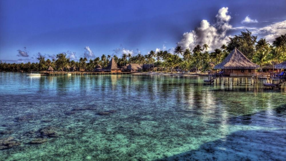 Overwater bungalow in Tahiti wallpaper