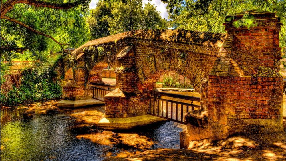 Stone Bridge over the river wallpaper