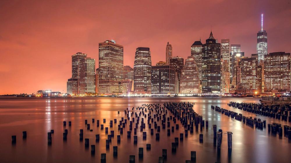 Lower Manhattan Skyline and wooden pier stumps wallpaper
