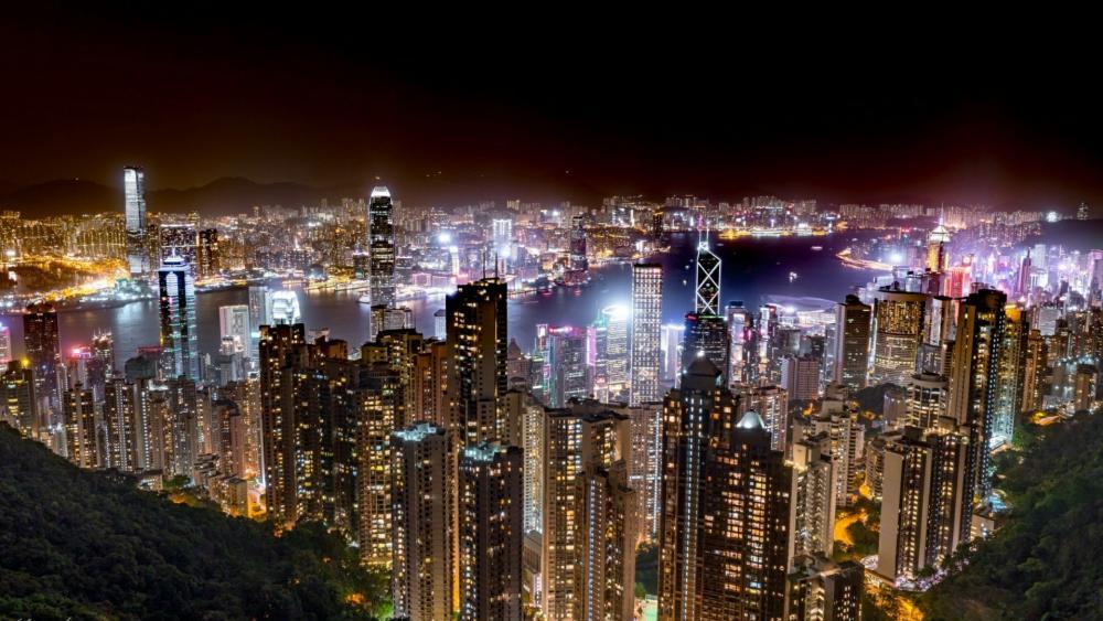 Hong Kong citylights from Victoria Peak wallpaper