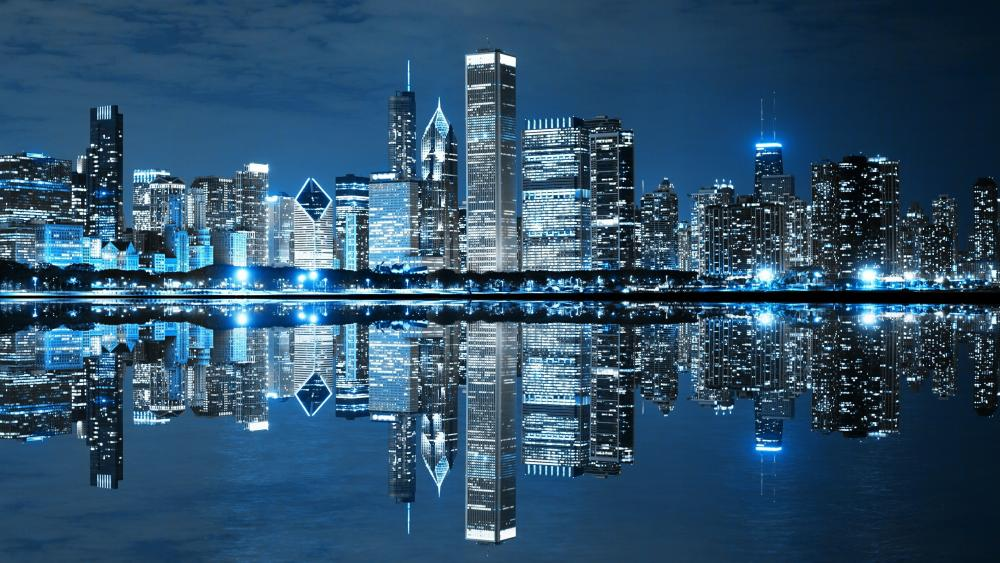 Chicago skyline reflected in the Lake Michigan wallpaper