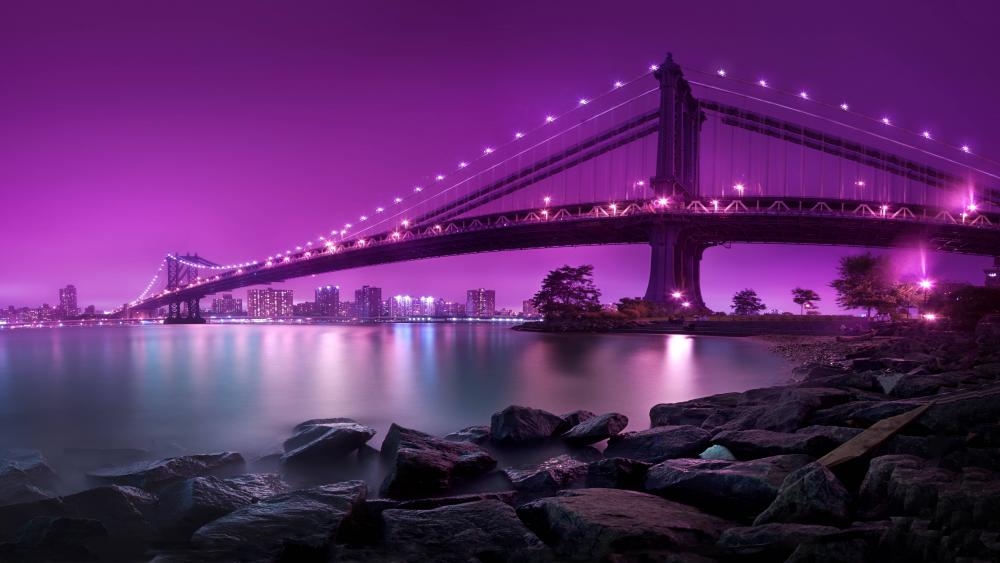 Manhattan Bridge at night wallpaper
