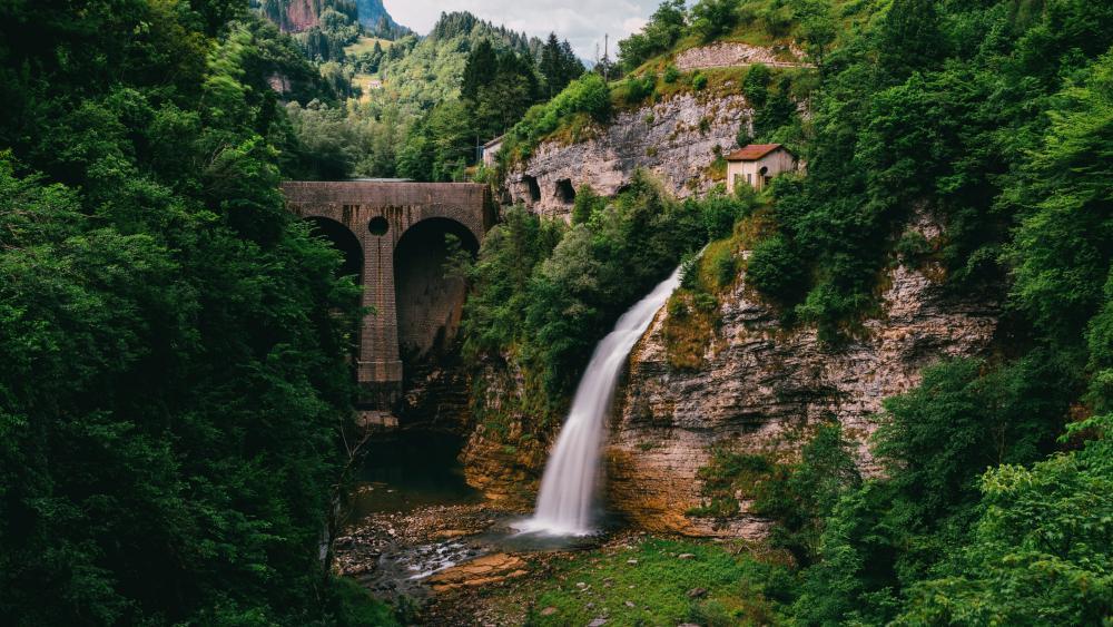 Cascata di Ponte Serra, Lamon wallpaper
