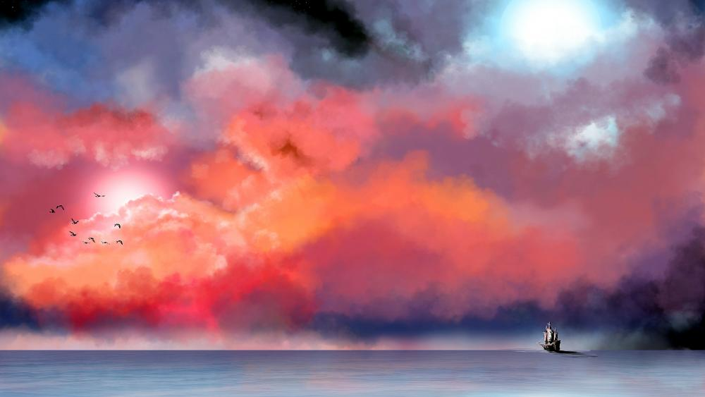 Lonely ship in big blue sea painting artwork wallpaper