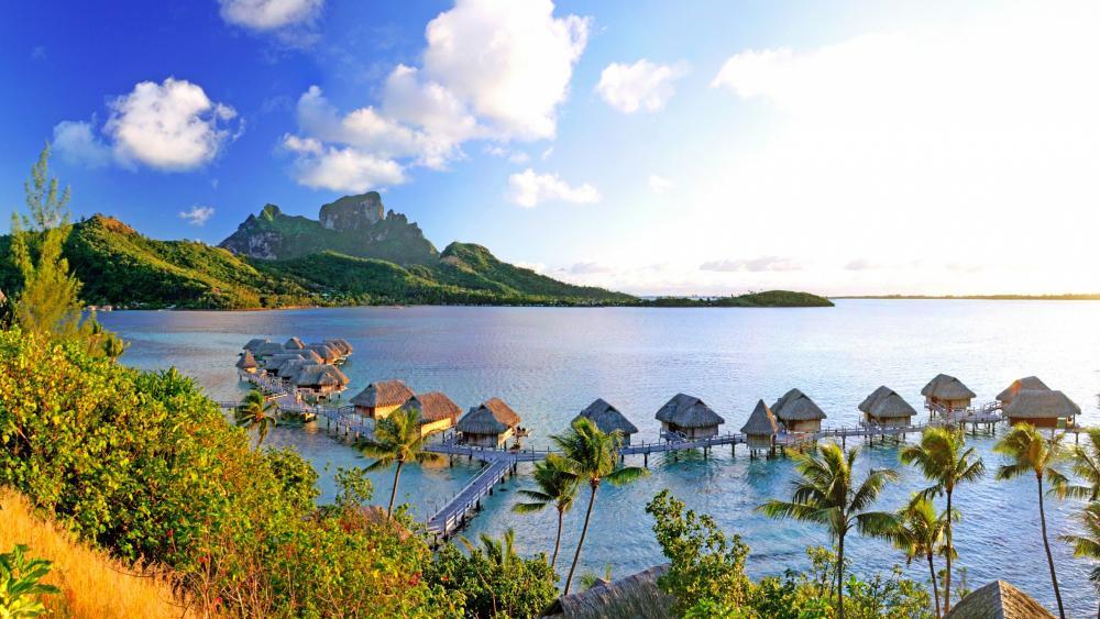 Overwater bungalows in Bora Bora wallpaper