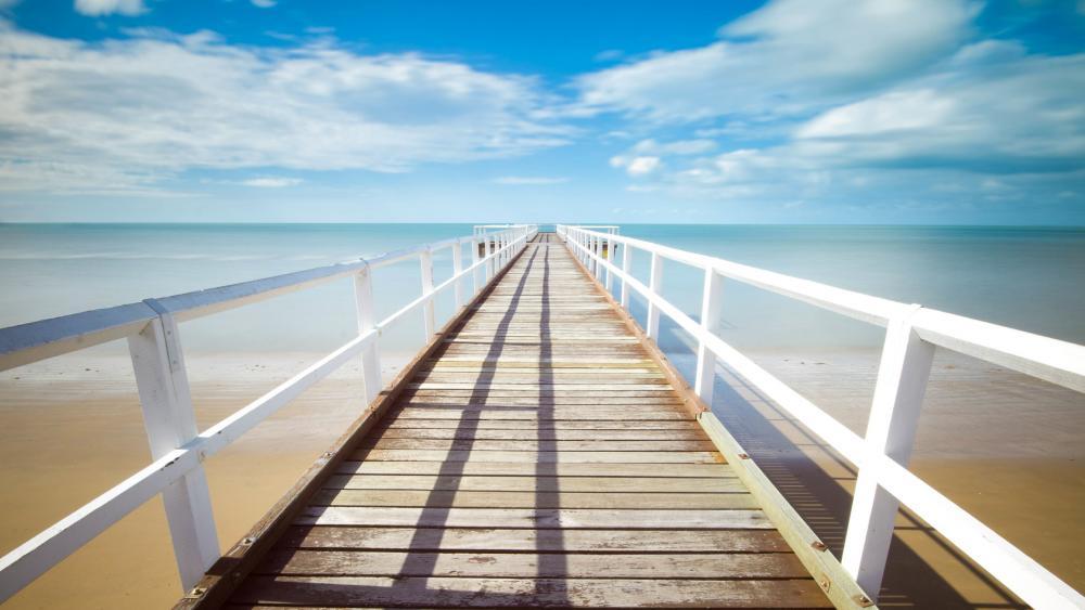 Long wooden pier wallpaper