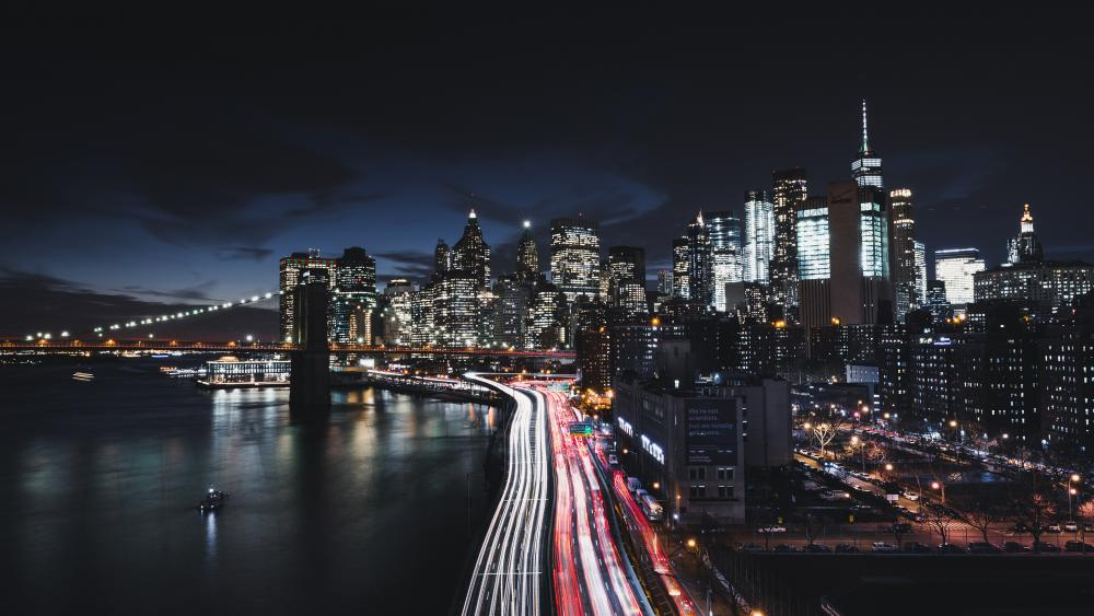 Manhattan at night wallpaper