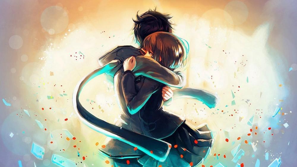 Anime hugging wallpaper