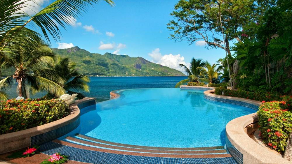 Swimming pool with panorama (Seychelles) wallpaper