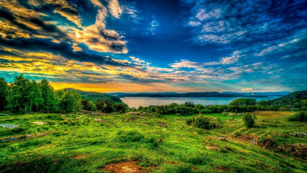 Lakeside hills wallpaper