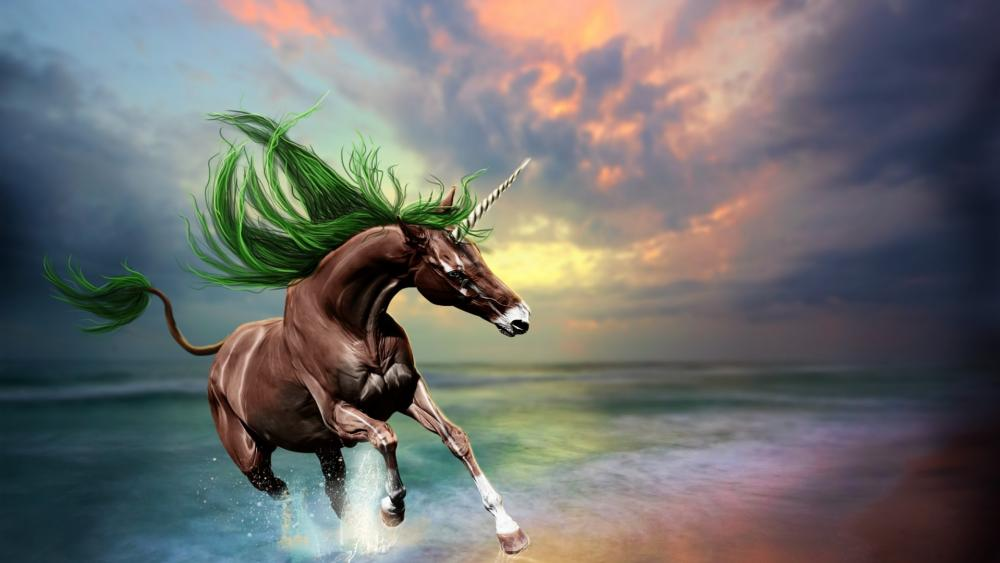 Unicorn with green mane wallpaper
