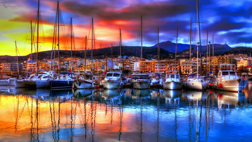 Colorful yachts wallpaper