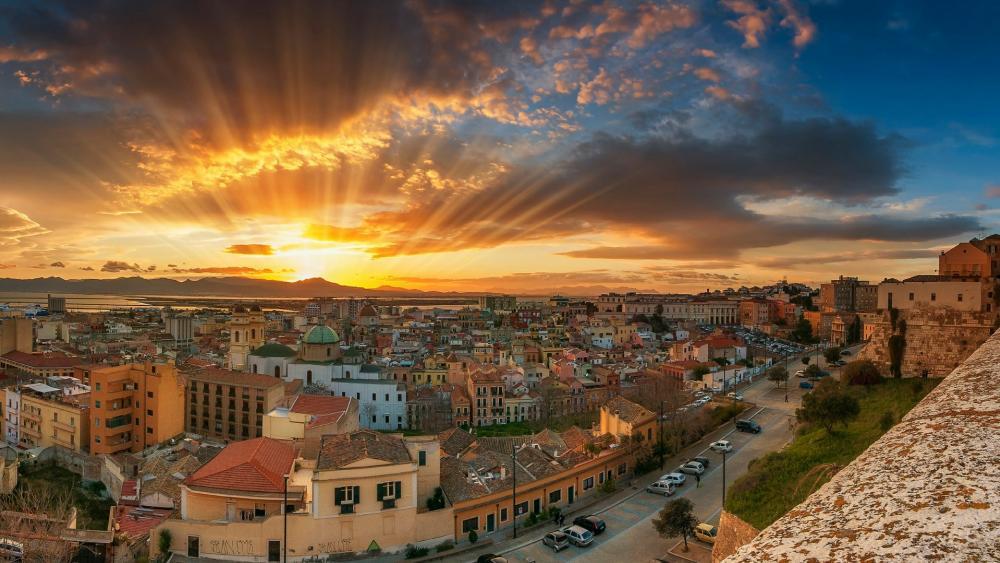 Sunset over Cagliari wallpaper