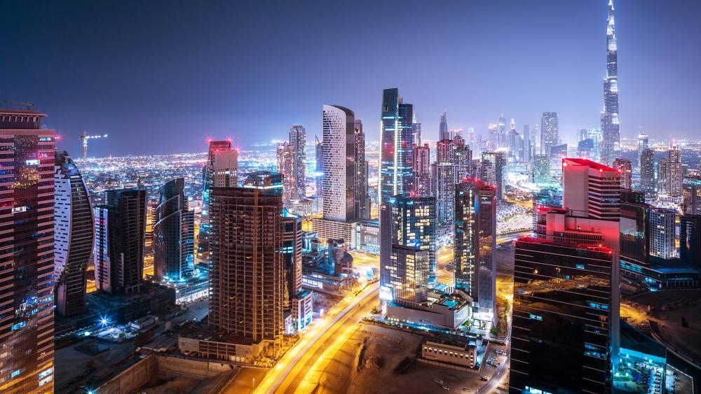 Lights of Dubai at night wallpaper