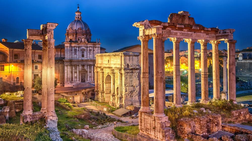 Roman Forum at dusk wallpaper