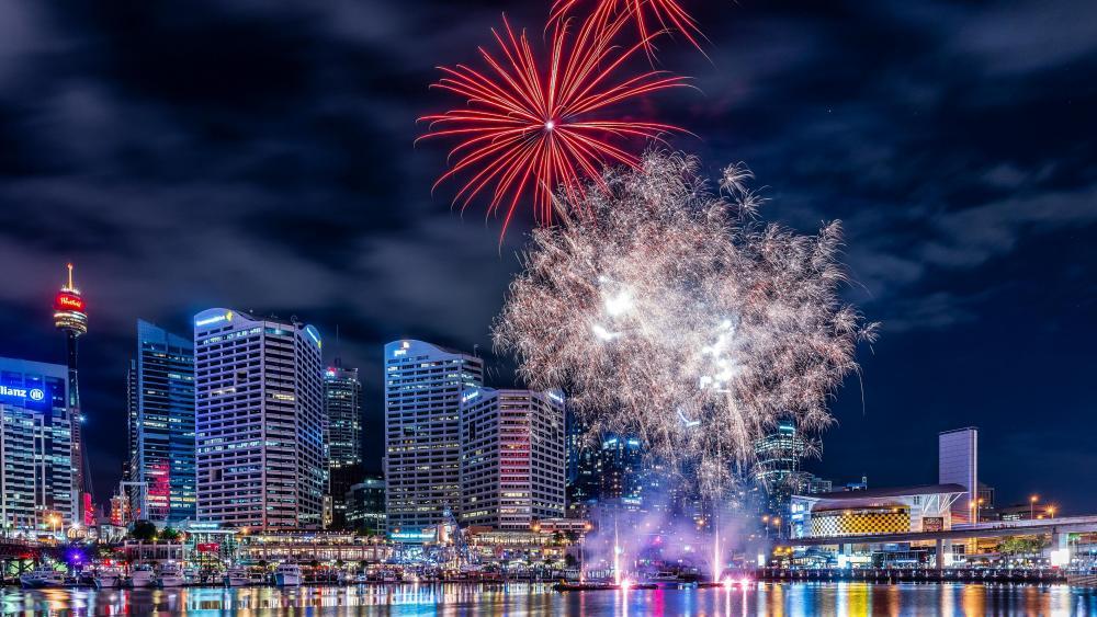 Darling Harbour fireworks wallpaper