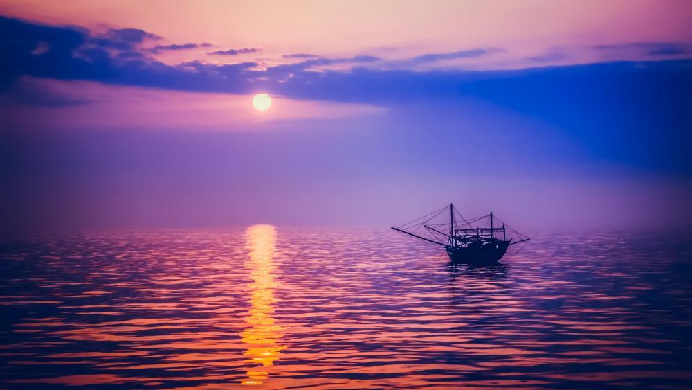 Fishing boat at sunset wallpaper