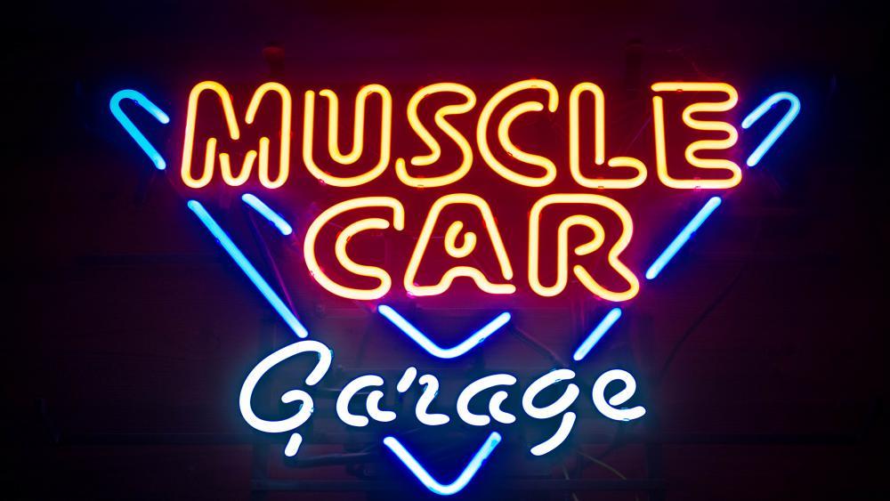 Muscle Car Garage Neon Sign wallpaper