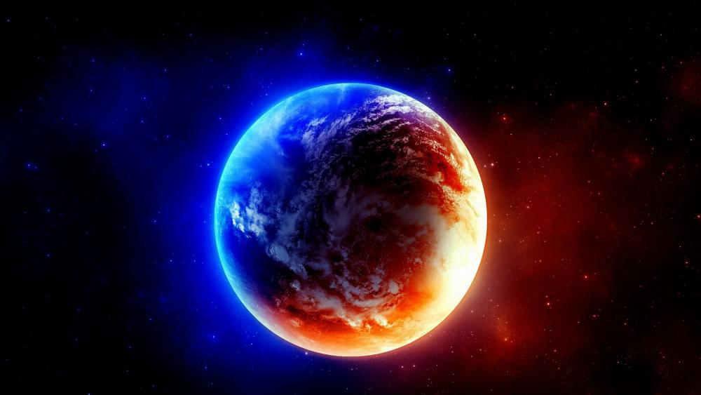 Earth in red and blue lights wallpaper