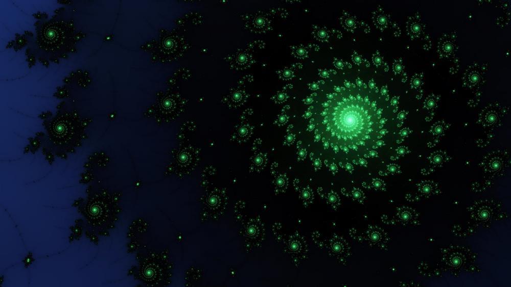 Green spiral fractal art wallpaper