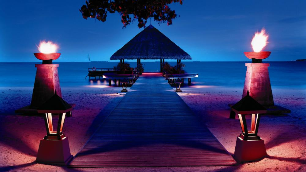 Palapa on the pier (Maldives) wallpaper