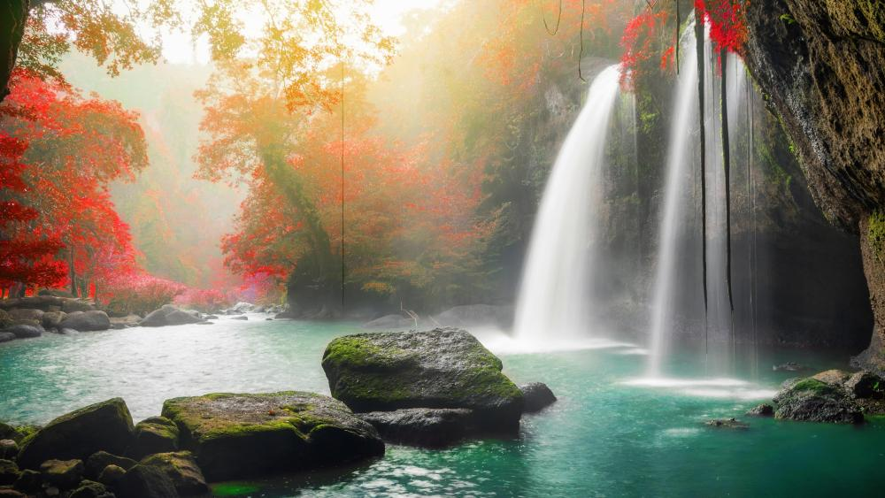 Autumnal Haew Su Wat Waterfall wallpaper