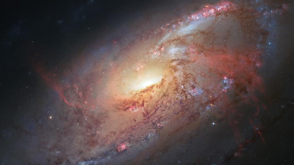 Messier 106 spiral galaxy wallpaper
