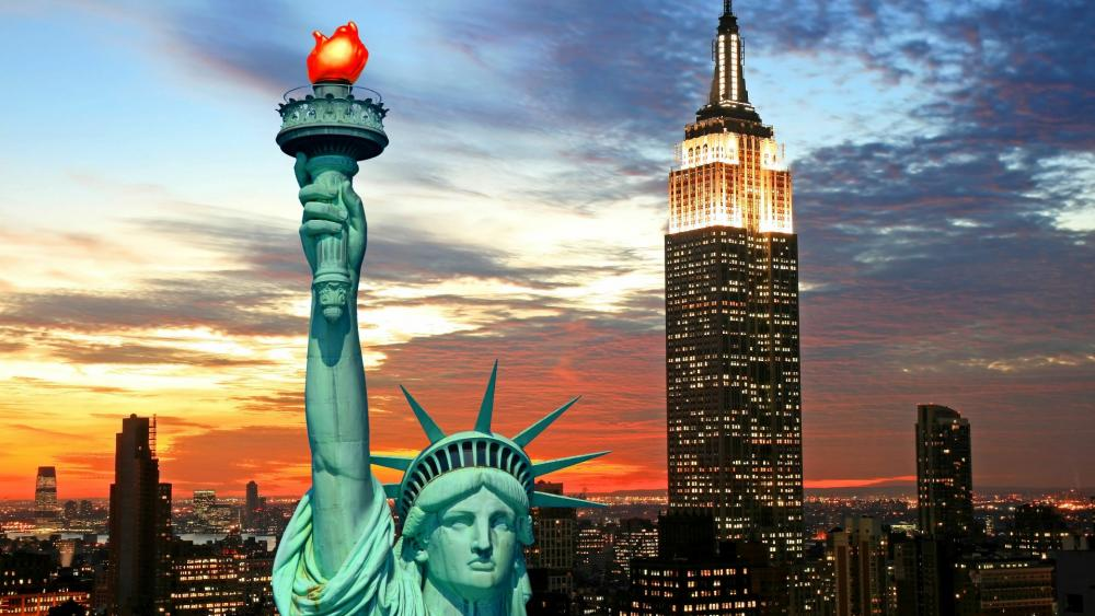 Statue of Liberty & The Empire State Building wallpaper
