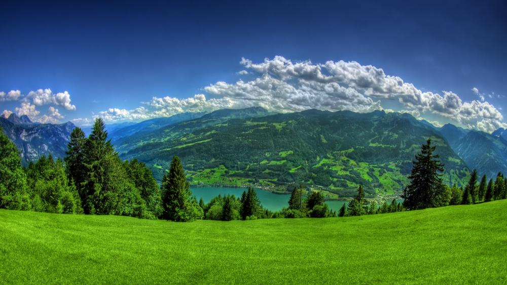 Walensee lake in the Swiss Alps wallpaper
