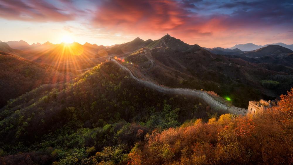 Sunset at Huanghuacheng Great Wall wallpaper