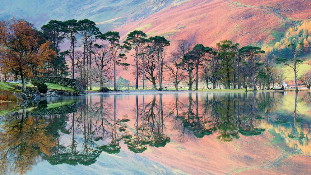 Buttermere lake reflection wallpaper