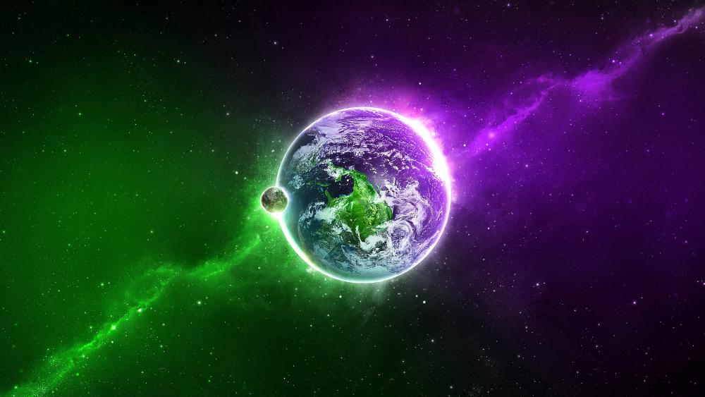 Earth with the moon in the green and purple space wallpaper